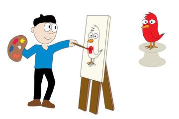Artist with Bird Model