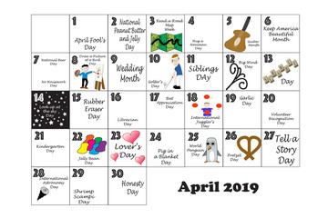 April Quirky Holidays and Unusual Events 2019