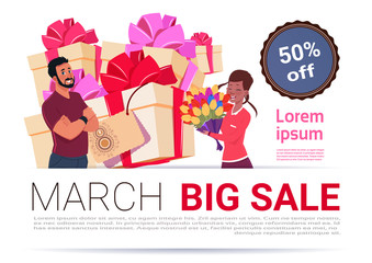 Big Sale On 8 March Banner Template International Women Day Discount And Promotion Concept Flat Vector Illustration