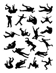 Fall down silhouette. Good use for symbol, logo,web icon, mascot, sign, or any design you want.