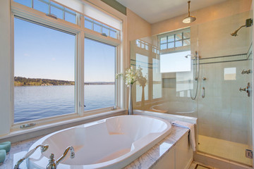 Fabulous bathroom features nook filled with tub