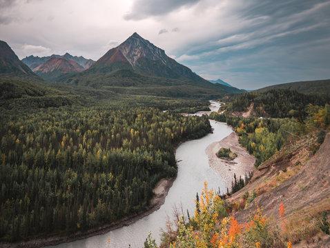 Glacier View in Alaska looking down the Matanuska River