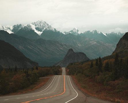 The roadtrip view looking west toward Lion's Head in Alaska