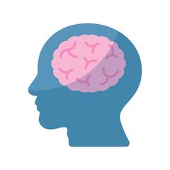 Brain human head idea flat design icon vector illustration