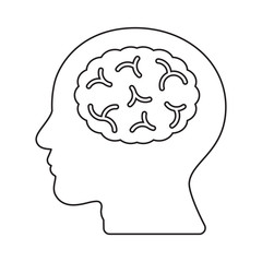 Brain human head idea thin line flat design icon vector illustration. Editable stroke