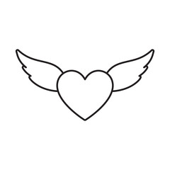 Heart with wings love thin line flat design icon vector illustration. Editable stroke