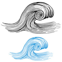 Ocean Wave Drawing Design Element