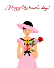 Happy women's day greeting card with adorable girl in pink dress