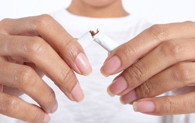 Stop smoking with broken cigarette.Health concepts and drug abstinence