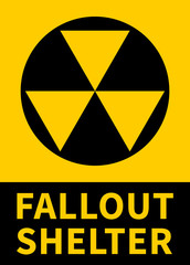 Nuclear fallout shelter flat yellow vector sign with text for print