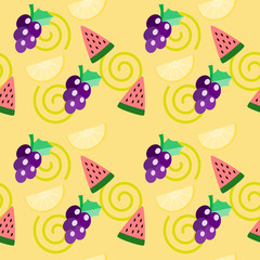 Vector illustration of tropical fruits. Summer fruits including, watermelon, lemon and grape on vivid color background. Summer and freshness concept. Tropical fruits seamless pattern.