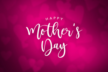 Happy Mother's Day Cursive Text Over Pink Blurred Hearts Background