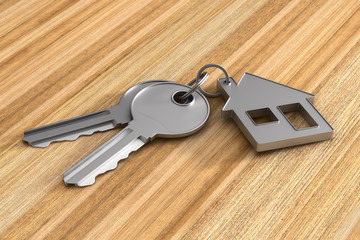 Two keys and trinket house on wooden surface. 3d illustration