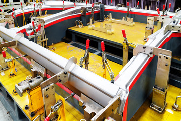 Car production line equipment closeup