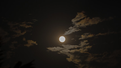 Full moon and moonlight in cloud