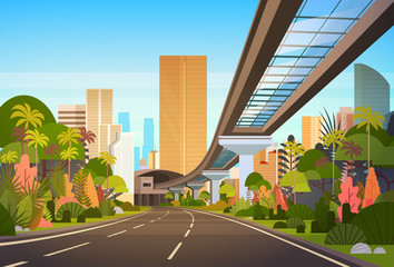Highway Road To City Skyline With Modern Skyscrapers And Railway Cityscape View Vector Illustration