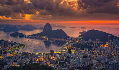 Sugarloaf Mountain at sunrise with dramatic sky, Rio de Janeiro, Brazil