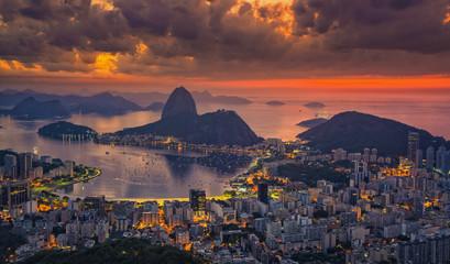 Sugarloaf Mountain at sunrise with dramatic sky, Rio de Janeiro, Brazil