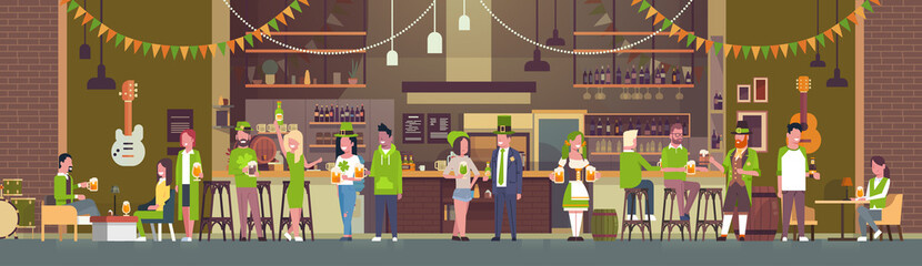 Saint Patricks Day Celebration Party In Irish Pub Horizontal Banner With People In Traditional Clothes Drinking Beer Flat Vector Illustration