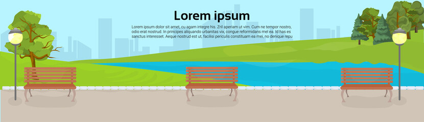 Public Park With Benches, Green Lawn And Trees Over River Or Lake On City Buildings Template Background Horizontal Banner Flat Vector Illustration