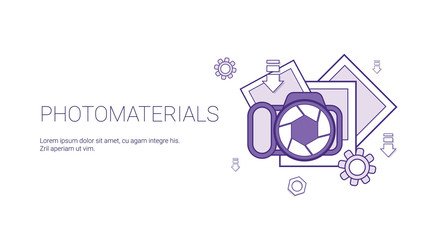Photo Materials Media Data Concept Template Web Banner With Copy Space Vector Illustration