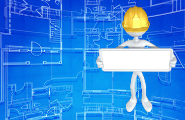 The Original 3D Character Illustration Construction Worker With A Blank Sign