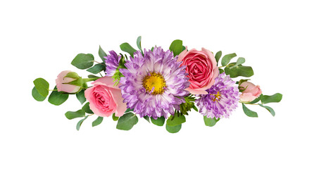Purple asters and pink rose flowers with eucalyptus leaves in a line arrangement
