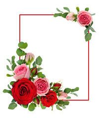 Red and pink rose flowers with eucalyptus leaves in a corner arrangements with  frame
