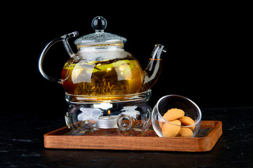 tea on an isolated black background
