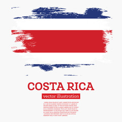 Costa Rica Flag with Brush Strokes.