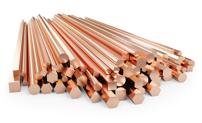 Stack of copper rods. Rolled metal products. Isolated on white background, clipping path included. 3d illustration.