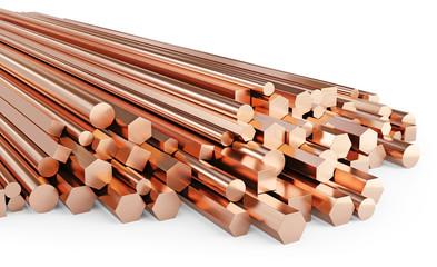 Copper rolled metal products. Stack of round, square, hexagonal copper rods. Isolated on white background, clipping path included. 3d illustration.