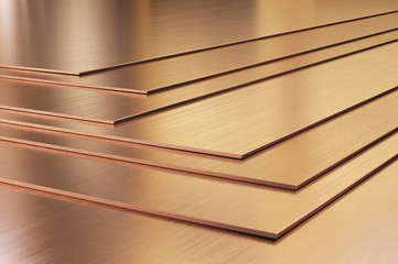 Copper sheets. Rolled metal products close-up. 3d illustration.