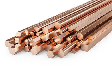 Copper rods of different types. Isolated on white background, clipping path included. 3d illustration.