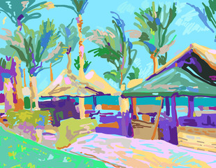digital painting of summer beach landscape in Egypt