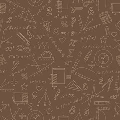 Seamless pattern on the theme of study and subject of math, graphs and formulas, beige outlines on a brown background