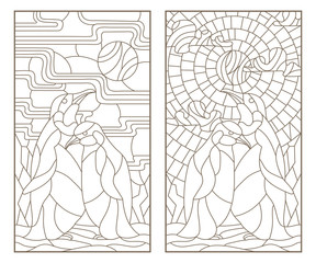 Set of outline illustrations of stained glass Windows with a pair of penguins, dark outlines on white background