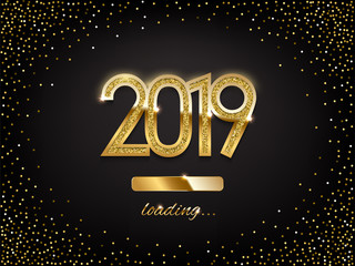 2019 golden New Year sign with loading panel on black background. Vector New Year illustration.