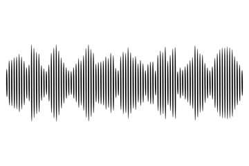 Black sound wave. Vector audio technology illustration.