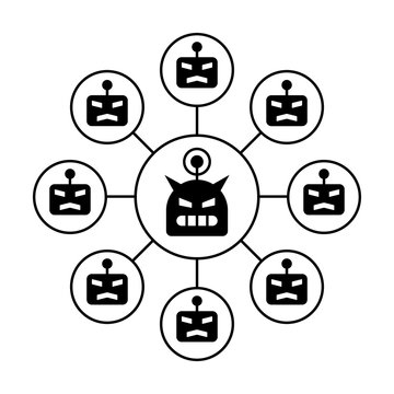 Botnet or robot network ddos cyber attack flat vector icon for apps and websites