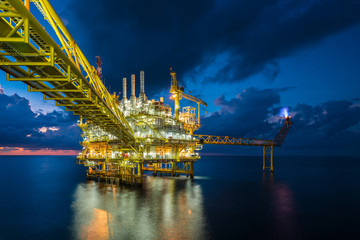 Offshore oil and gas central facility to treat raw gas and crude oil for sent to onshore refinery, petrochemical industry and power generation plant, Power and energy business.