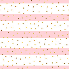 Golden dots seamless pattern on pink striped background. Appealing gradient golden dots endless random scattered confetti on pink striped background. Confetti fall chaotic decor.