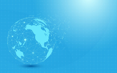 Global network with World map point and lines and triangles, point connecting network on blue background. Illustration vector