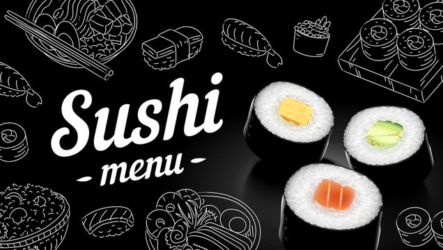 Sushi menu sketch cover. Vector clip art illustration.