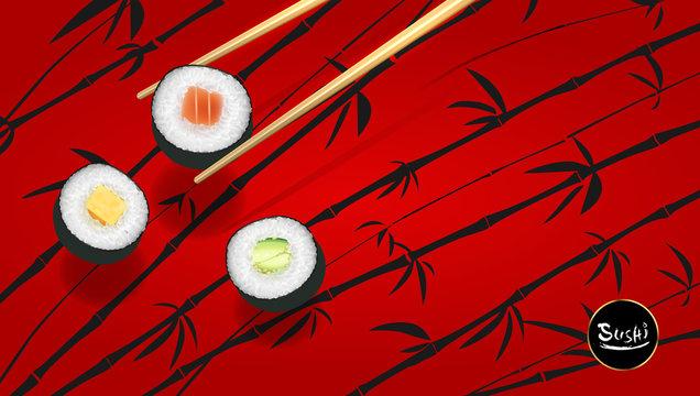 Sushi poster or flyer design temple, Vector clip art illustration.