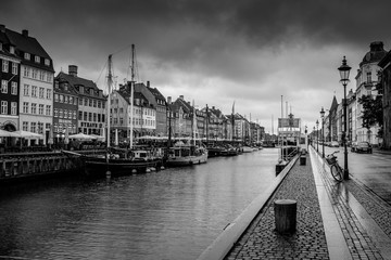 Nyhavn area during a morning rain in Copenhagen