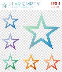 Star empty geometric polygonal icons. Bizarre mosaic style symbol collection. Outstanding low poly style. Modern design. Star empty icons set for infographics or presentation.