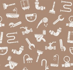 Plumbing and plumbing, seamless pattern, pencil hatching, brown, vector. Plumbing tools and spare parts, showers and plumbing parts. Seamless pattern.