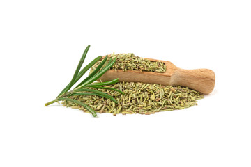 rosemary dried on a wooden spoon isolated on a white background