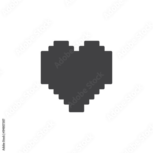 Pixels Heart Vector Icon Filled Flat Sign For Mobile Concept And